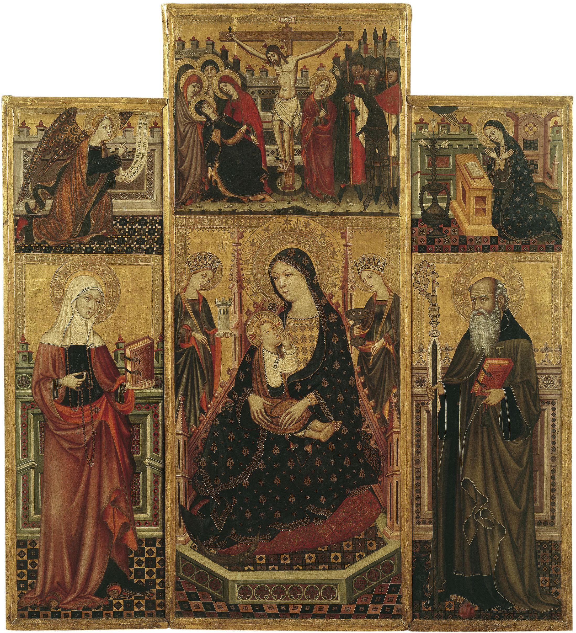 Llorenç Saragossà - Retaule de la Mare de Déu de la Llet, santa Clara i sant Antoni Abat - Últim quart del segle XIV