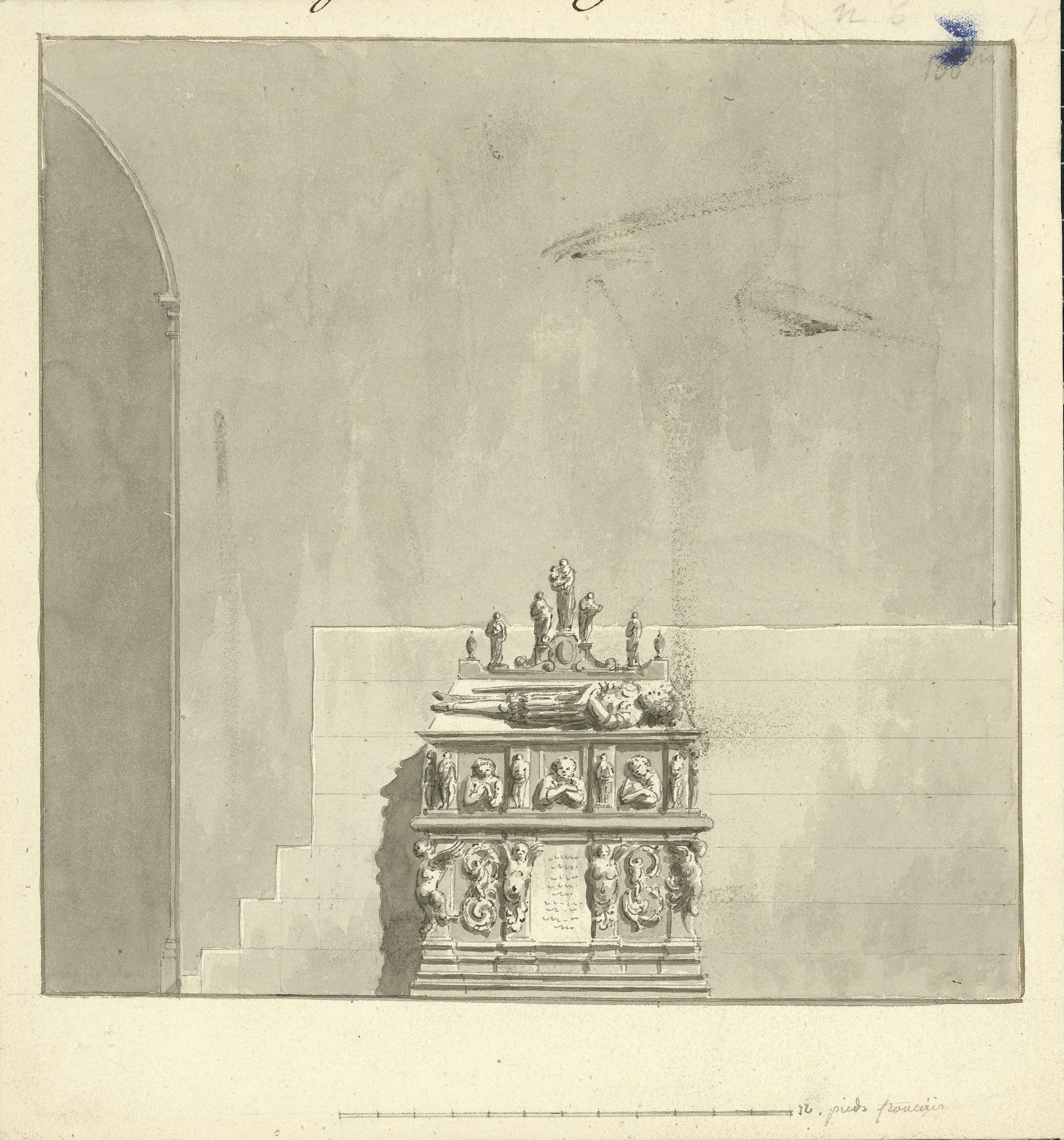 Anònim - Vista del segon sepulcre del «prohom vinculador», Ramon Folch VI de Cardona, a l'església del Monestir de Poblet - Cap a 1801-1803