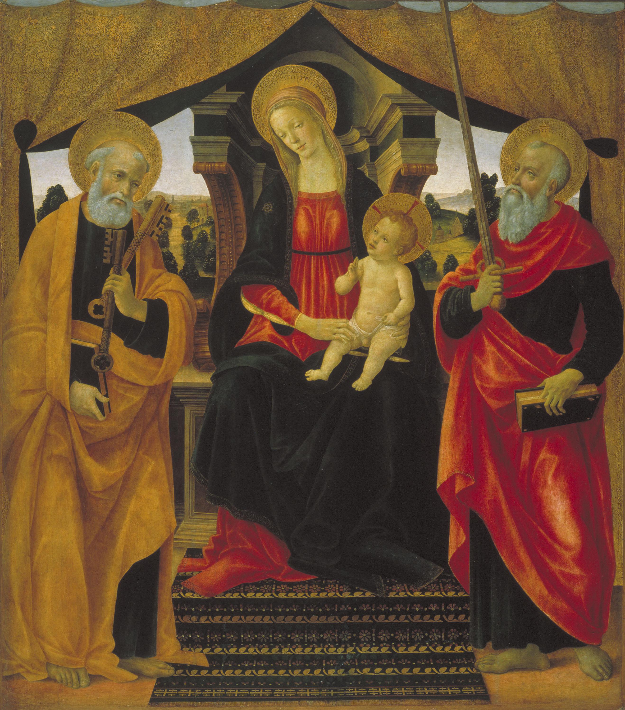 Vincenzo Frediani - Mare de Déu amb el Nen Jesús entre sant Pere i sant Pau - Cap a 1490