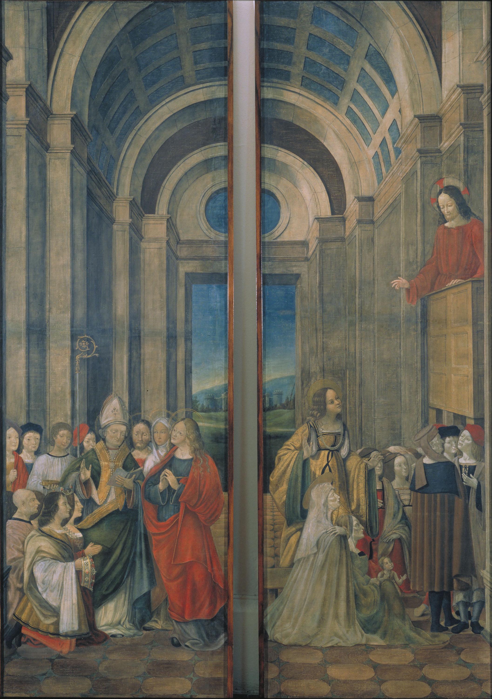 Ludovico (Alvise) de Donati - Maria Magdalena, Marta, Llàtzer i Maximí venerats pels prínceps de Provença i Maria Magdalena escoltant el sermó de Crist - Cap a 1508