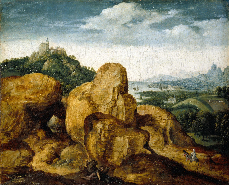 Cornelis Metsys - Paisatge amb la Fugida a Egipte - 1545-1550