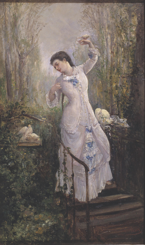 Ramon Martí i Alsina - Figura femenina amb uns coloms - Cap a 1860-1870