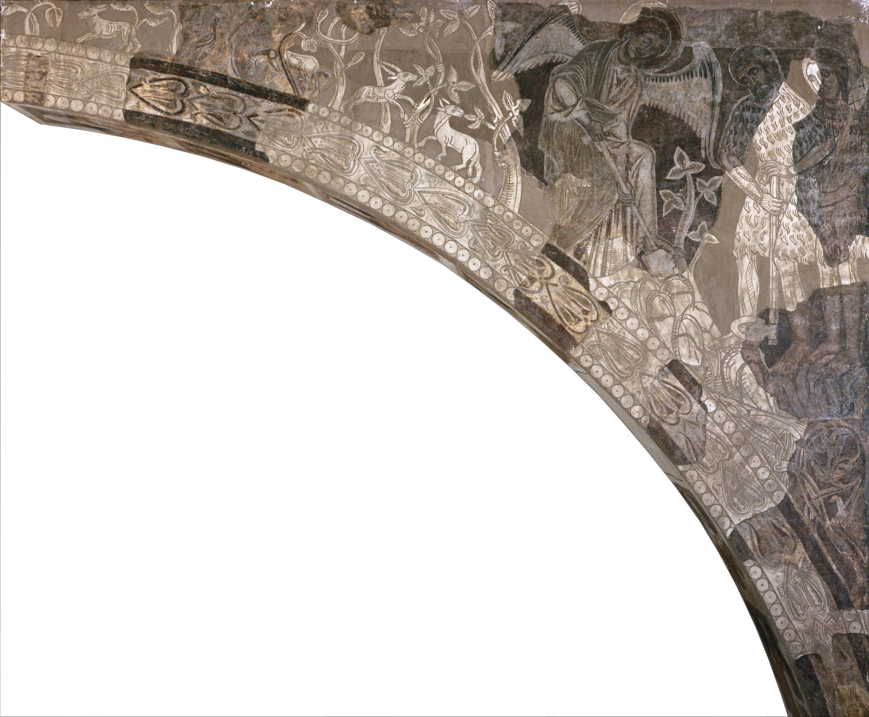 Mestre de la sala capitular de Sixena - Un àngel ensenya Adam a treballar la terra, de la sala capitular de Sixena - Entre 1196-1208