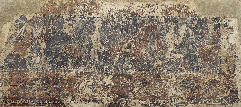 Anònim. Aragó - Pintures profanes de Sixena: Cèrvol menjant fruits d'un arbre, lleó subjectant un home nu i cavaller descavalcat i agenollat davant una dama entronitzada - Cap a 1200