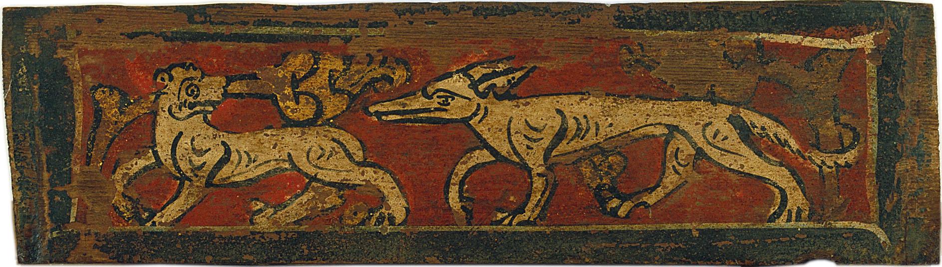 Anònim. Catalunya - Tauleta d'enteixinat amb quadrúpedes i motius vegetals - Finals del segle XIII