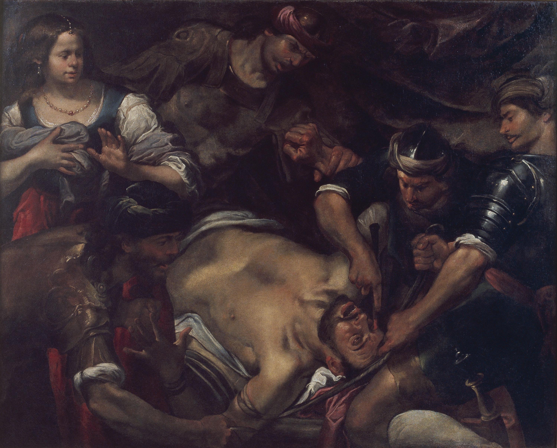 Gioacchino Assereto - Els filisteus arrencant els ulls a Samsó - Primera meitat del segle XVII