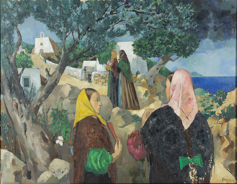 Pere Pruna - Paisatge amb figures (Eivissa) - 1965