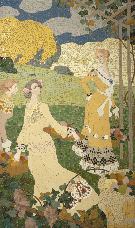 Gaspar Homar - Dones amb cistell de fruita sota un emparrat - Cap a 1905-1906