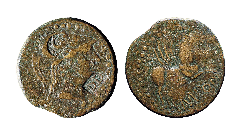 Emporiae - As d'Emporiae amb contramarca «DD» i dofí - Inicis del segle I