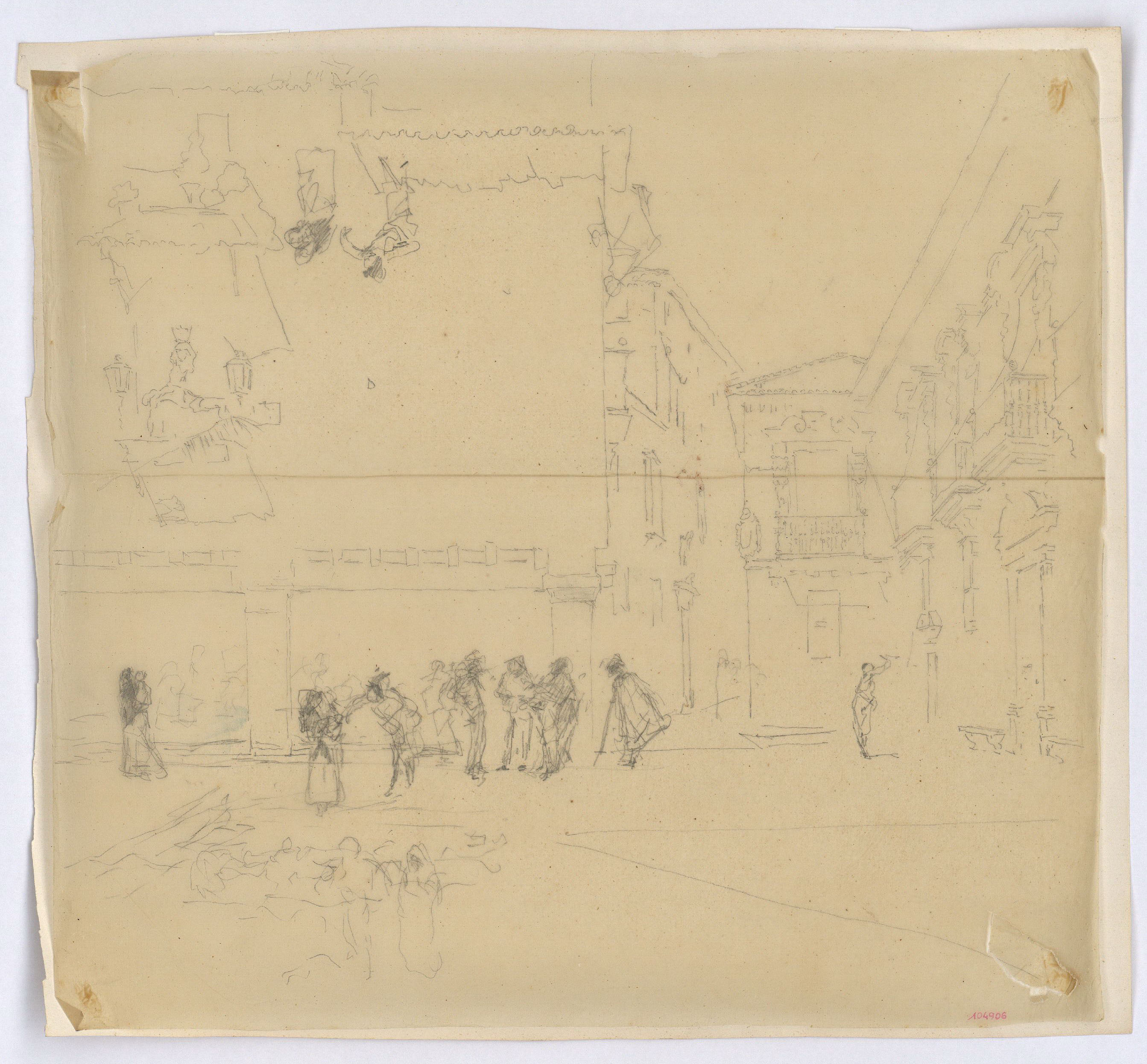 Tracing of the study for the picture 'The Old Town Hall in Granada