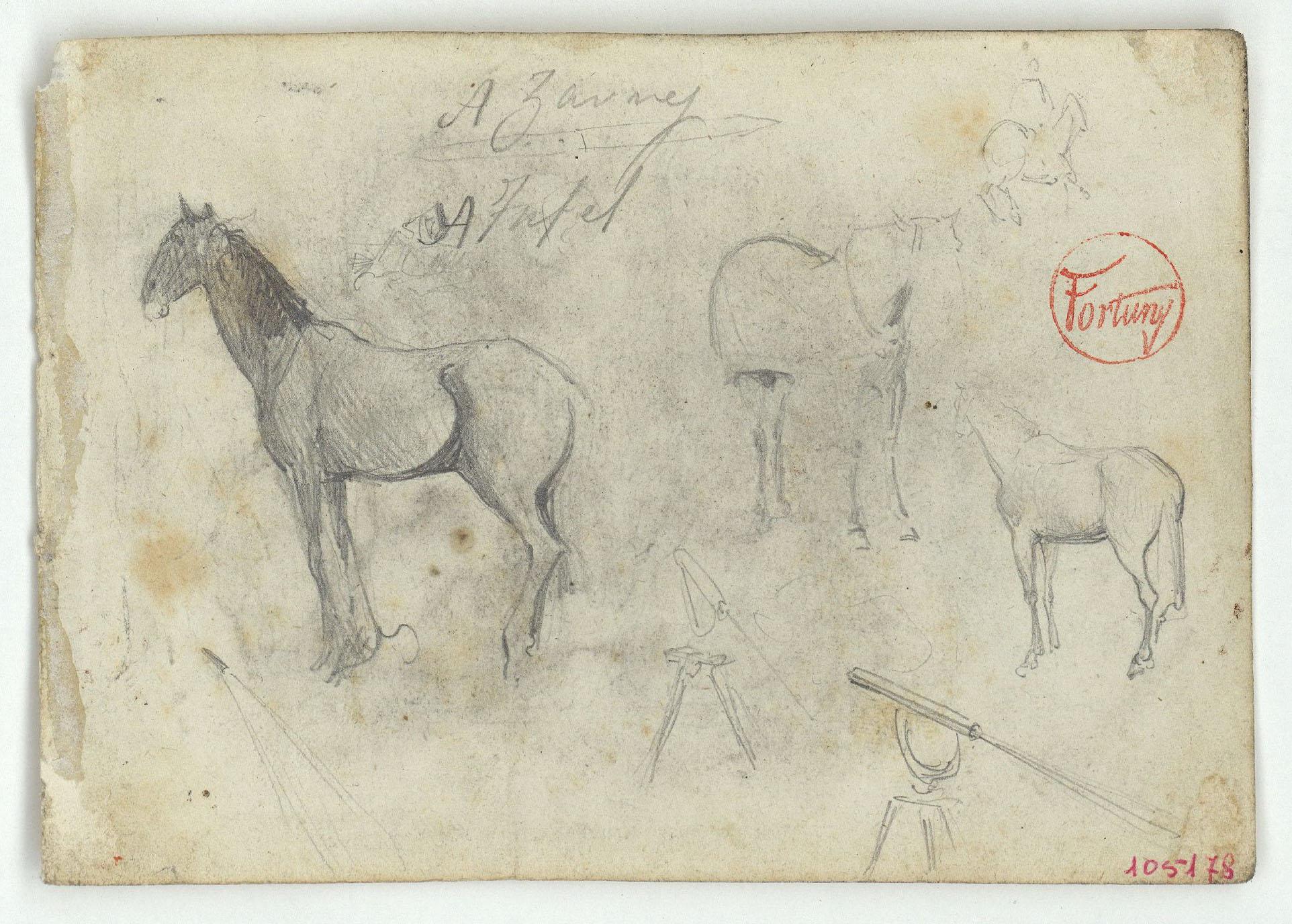 Marià Fortuny - Cavalls i telescopi (anvers) / Arbres (revers) - Cap a 1860