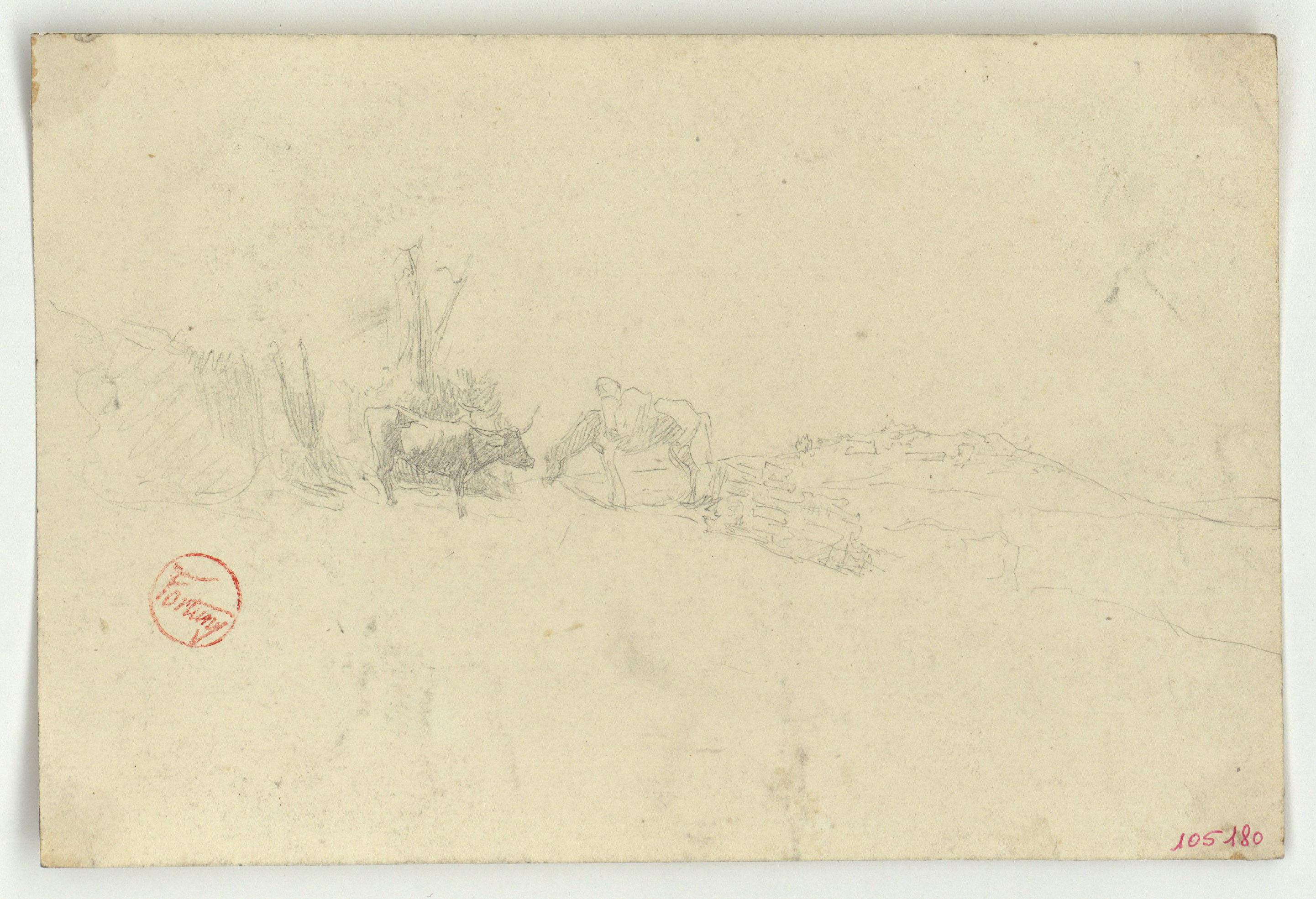 Marià Fortuny - Bou i cavall al camp (anvers) / Croquis de portes d'edificis d'estil musulmà (revers) - Cap a 1860-1862