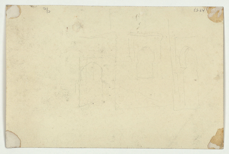 Marià Fortuny - Bou i cavall al camp (anvers) / Croquis de portes d'edificis d'estil musulmà (revers) - Cap a 1860-1862 [1]
