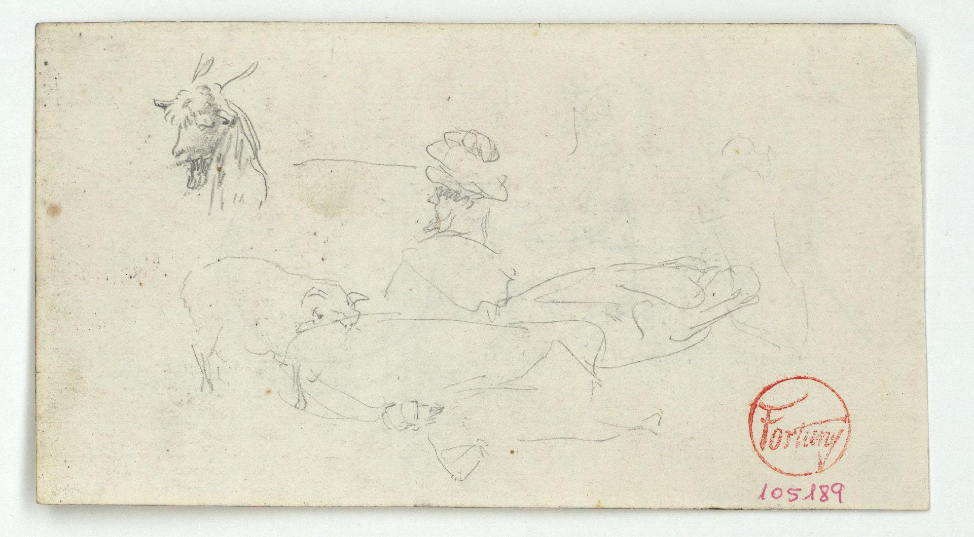 Marià Fortuny - Cap de cabra i croquis inconcrets (anvers) / Croquis inconcret (revers) - Cap a 1860-1862
