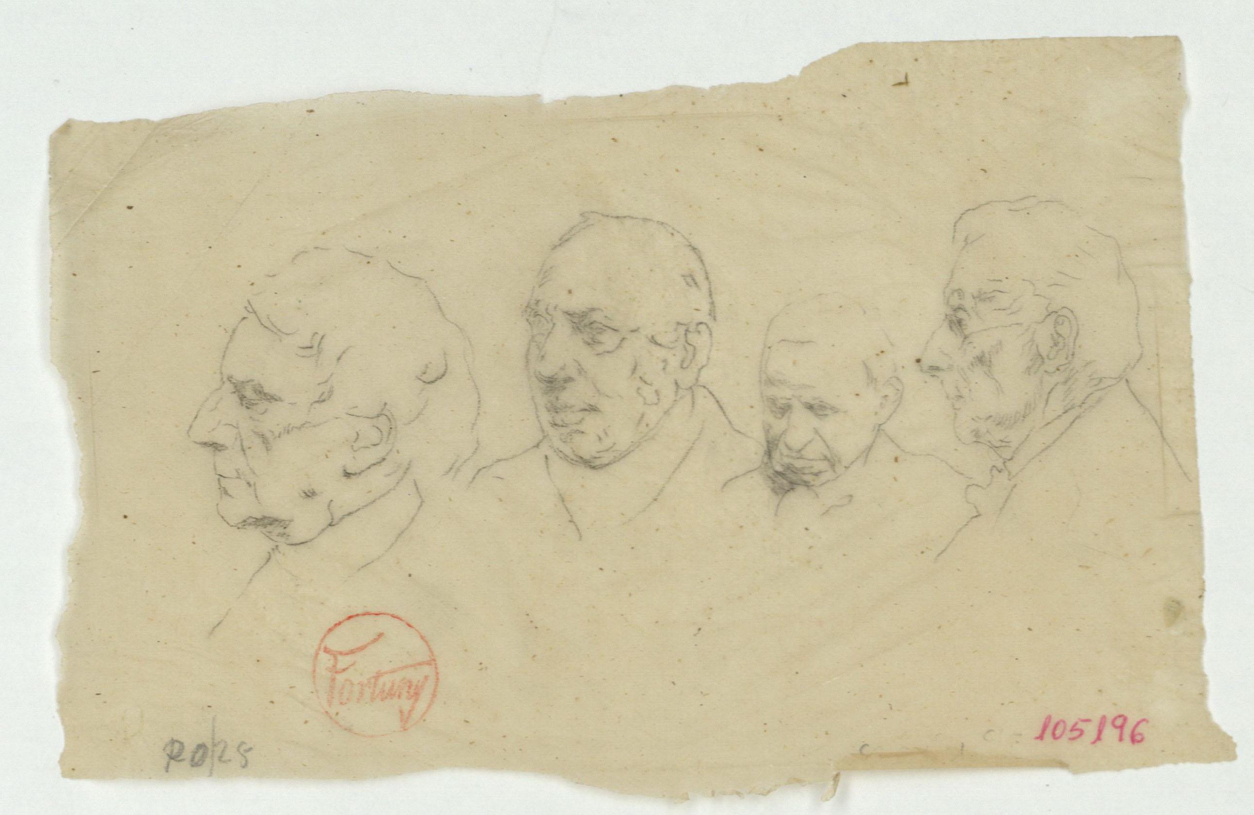Marià Fortuny - Calc de caps masculins - Cap a 1863-1866