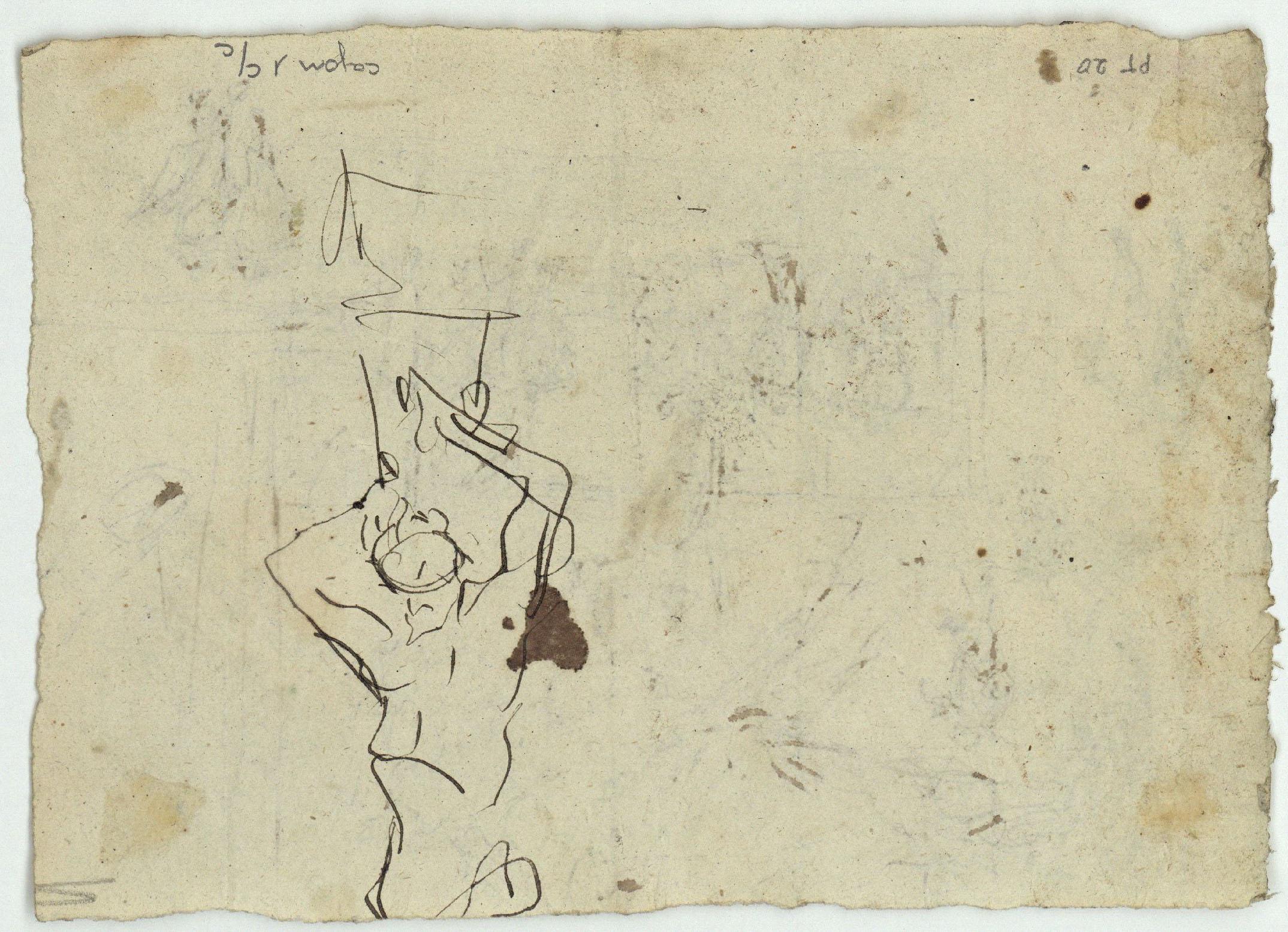 Marià Fortuny - Croquis de figures amb espases (anvers) / Croquis de figura masculina (revers) - Cap a 1870-1872 [1]