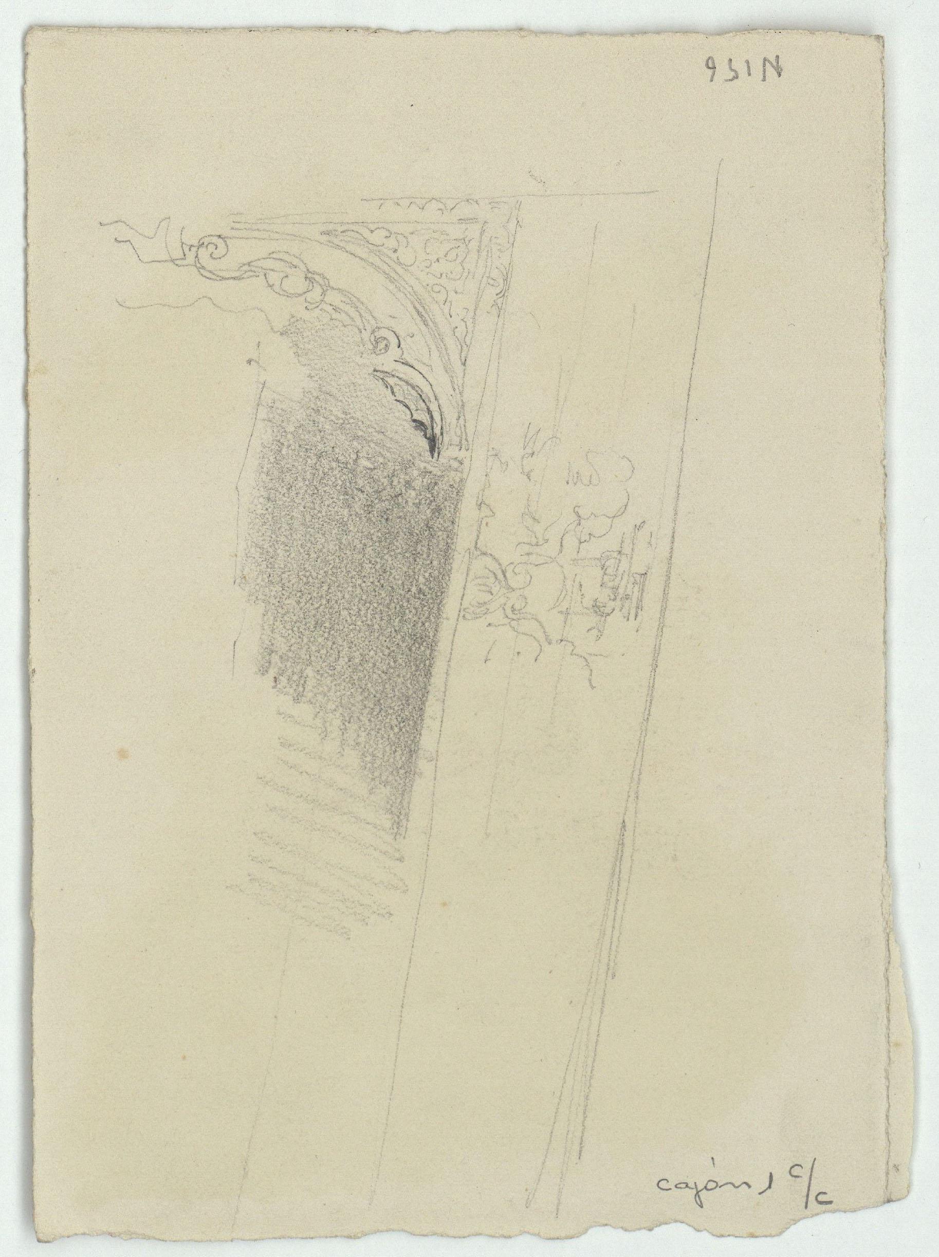 Marià Fortuny - Croquis d'enteixinat d'estil musulmà. Saló dels Abenserraigs de l'Alhambra (anvers) / Motiu arquitectònic d'estil musulmà (revers) - Cap a 1870-1872 [1]