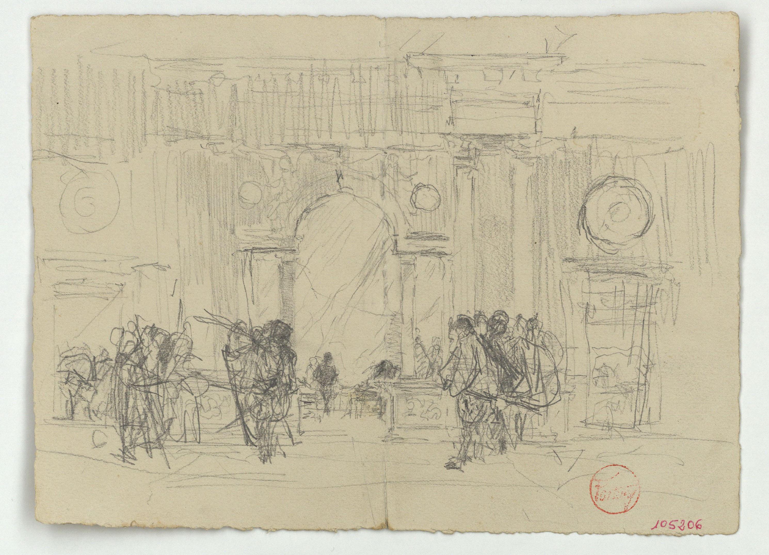 Marià Fortuny - Esbós del palau de Carles V a l'Alhambra de Granada i figures (anvers) / Anells (revers) - Cap a 1870-1872