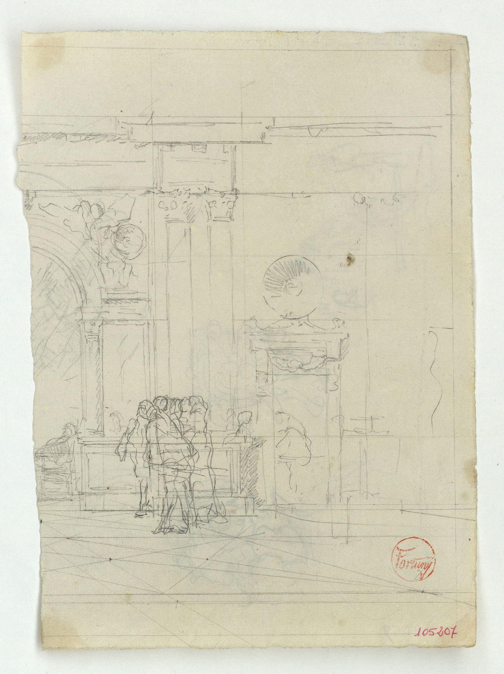 Marià Fortuny - Detall del palau de Carles V a l'Alhambra de Granada i figures (anvers) / Casc i diverses figures (revers) - 1870-1872