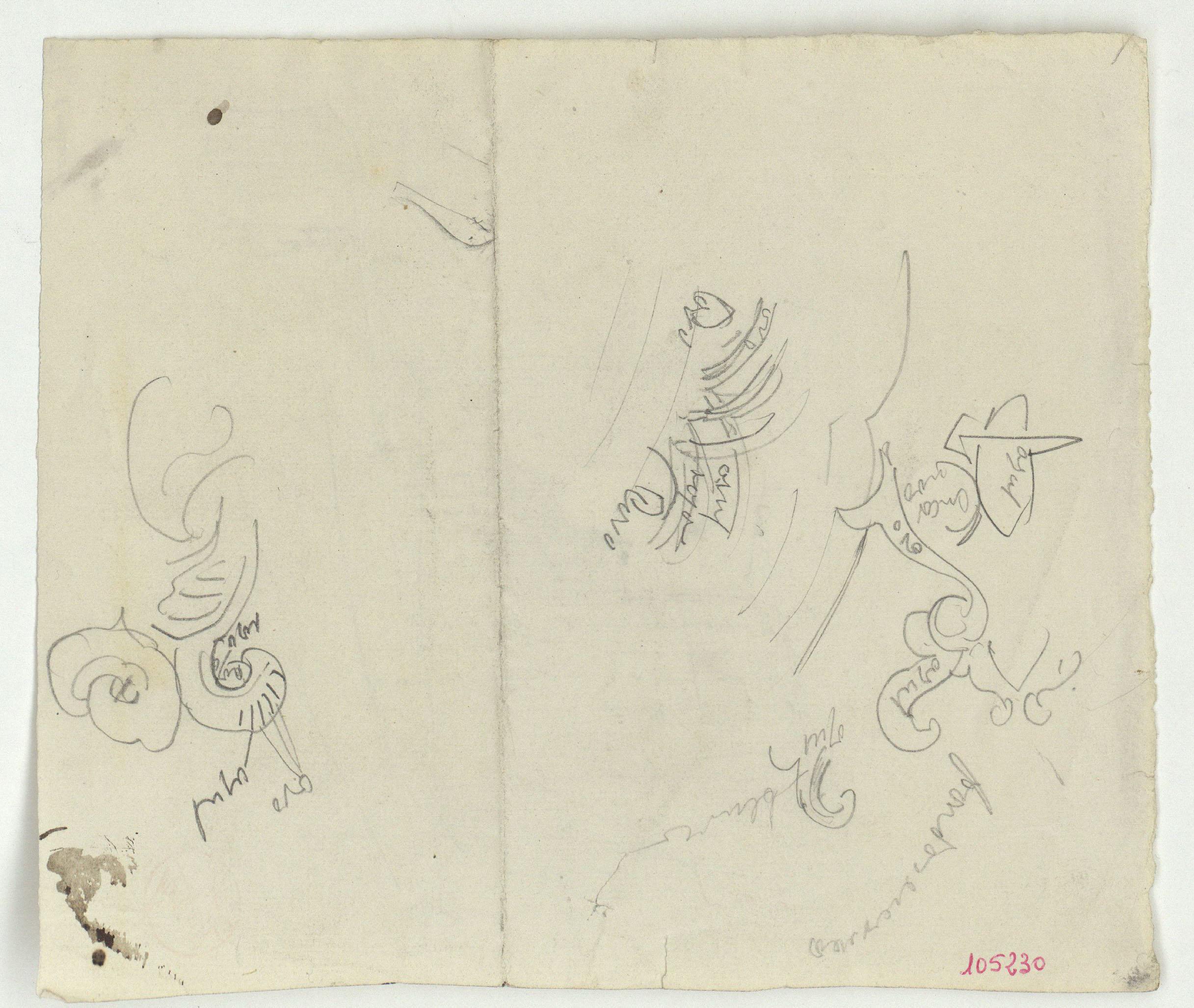 Marià Fortuny - Detalls de motius ornamentals (anvers) / Croquis d'edifici (revers) - Cap a 1860-1862