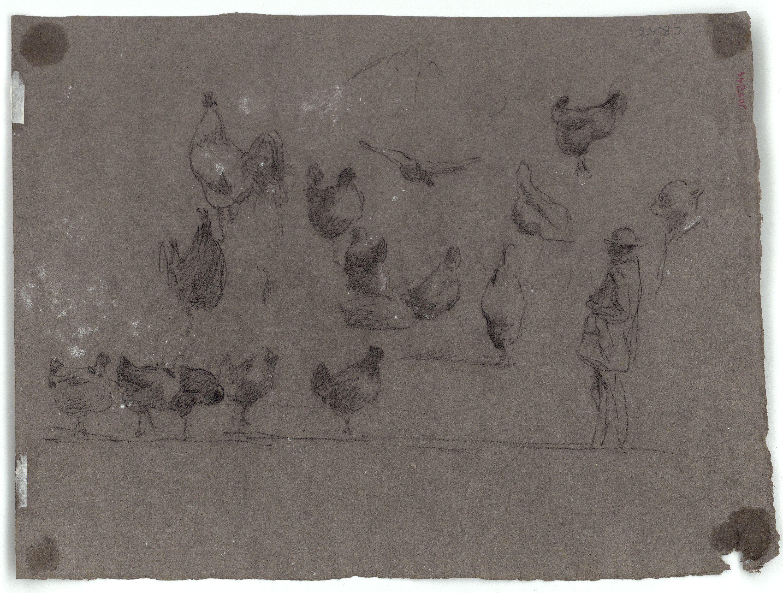 Marià Fortuny - Gallines entorn un tronc d'arbre (anvers) / Gallines i figures masculines (revers) - Cap a 1870 [1]