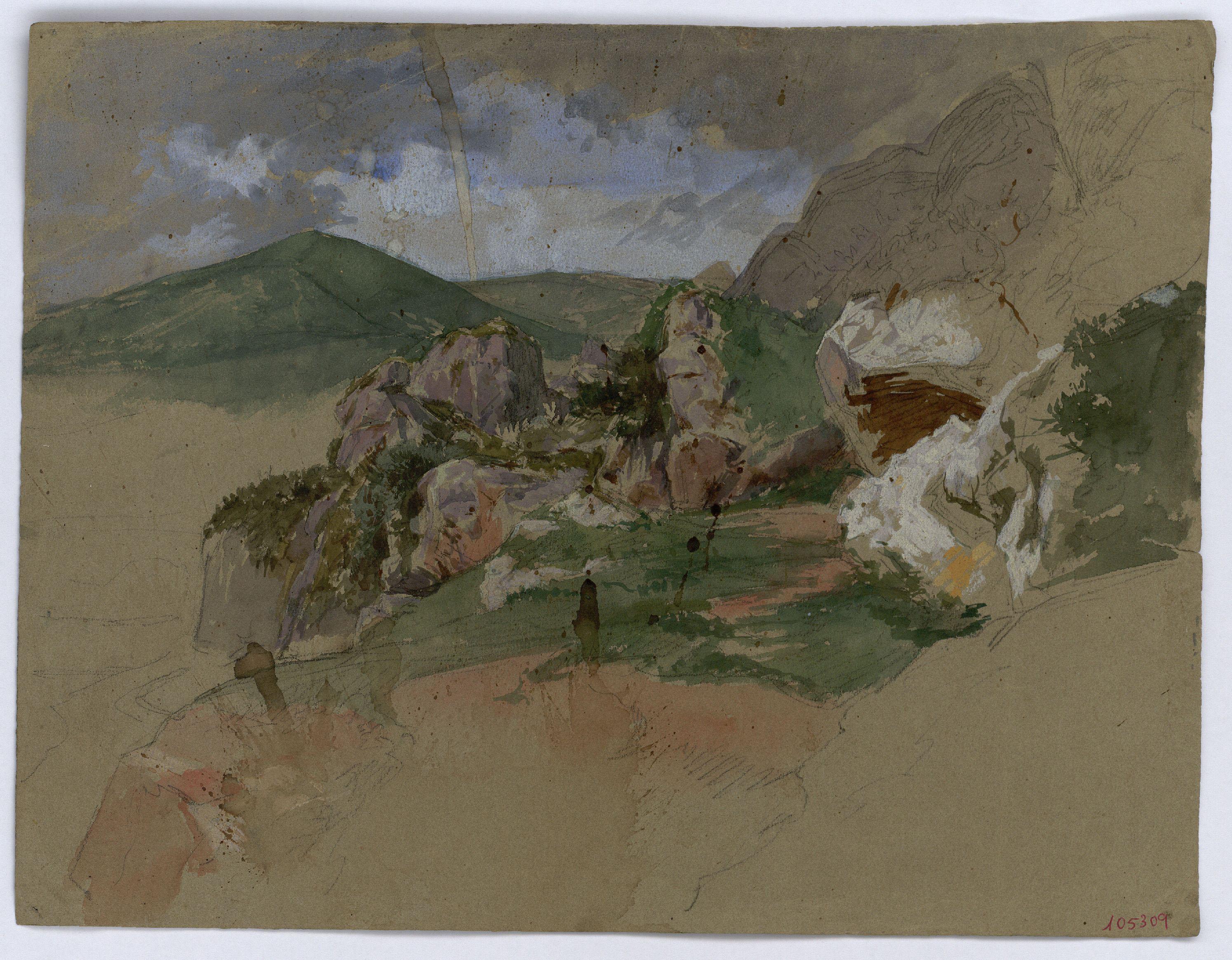 Marià Fortuny - Paisatge rocós (anvers) / Croquis inconcret (revers) - Cap a 1860-1862