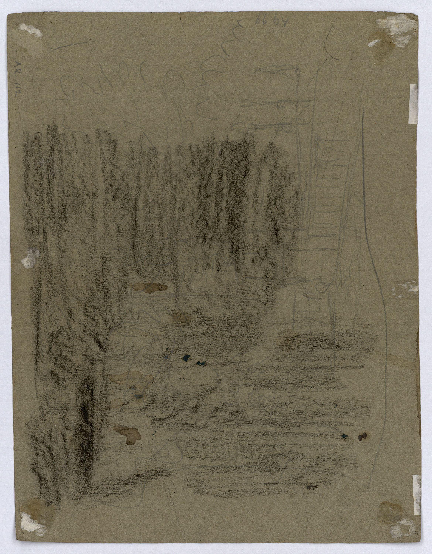 Marià Fortuny - Paisatge rocós (anvers) / Croquis inconcret (revers) - Cap a 1860-1862 [1]