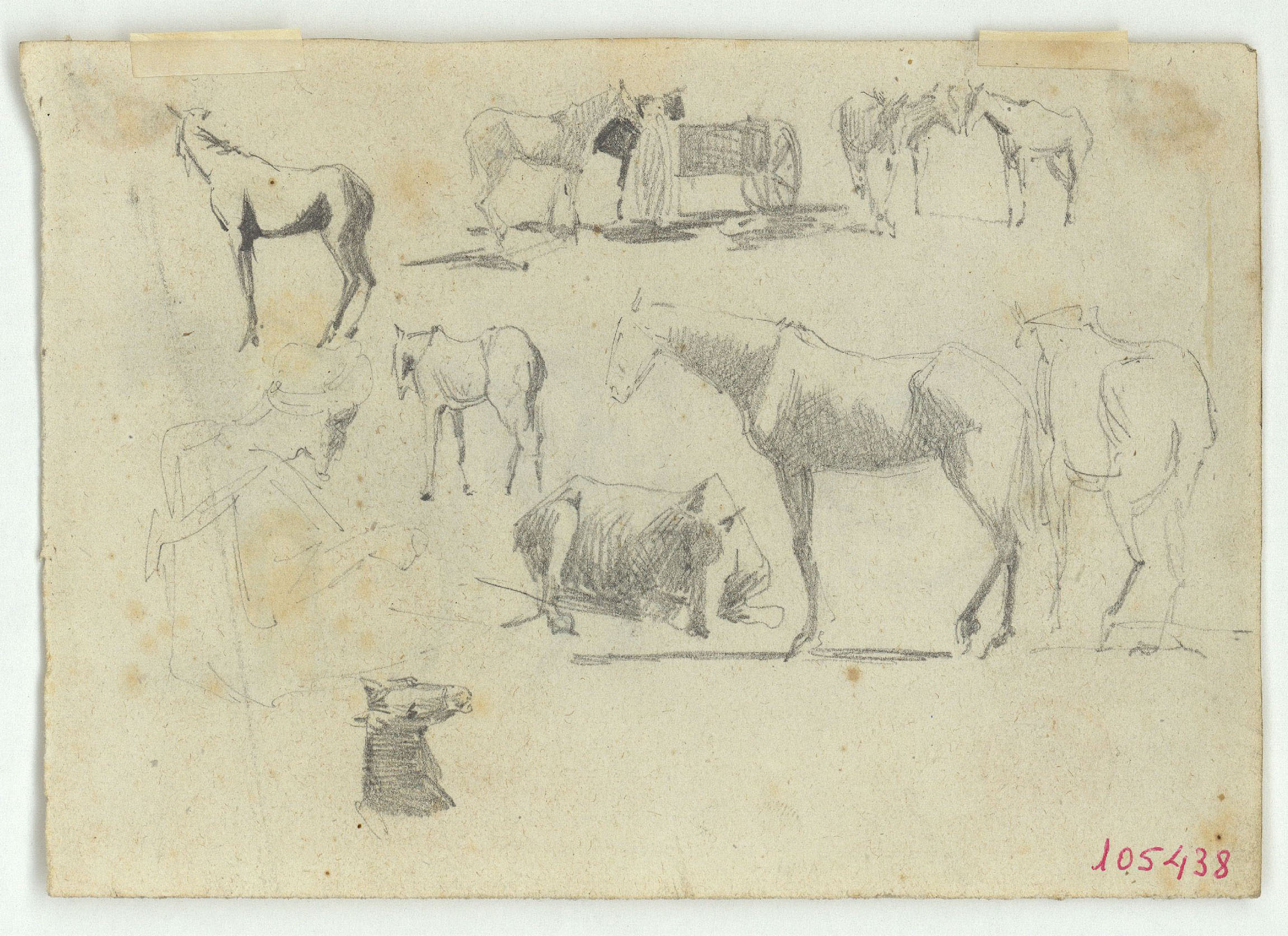 Marià Fortuny - Cavalls i esbós de marroquí (anvers) / Timbal i cavalls (revers) - Cap a 1860-1862