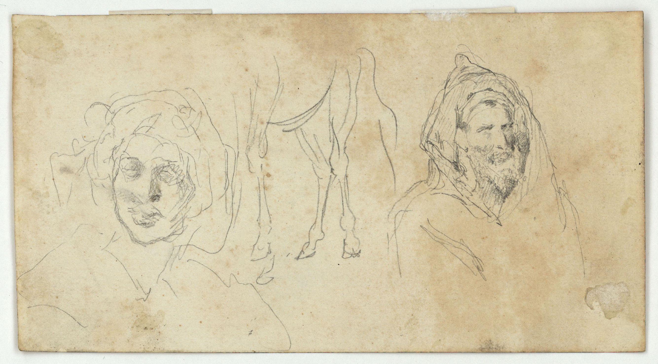 Marià Fortuny - Marroquins (anvers) / Caps de marroquins i potes de cavall (revers) - Cap a 1860-1862 [1]