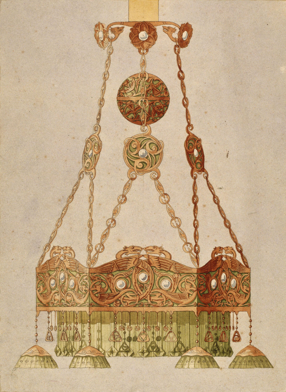 Gaspar Homar - Llum de metall per a la casa Burés de Barcelona - Cap a 1900-1906