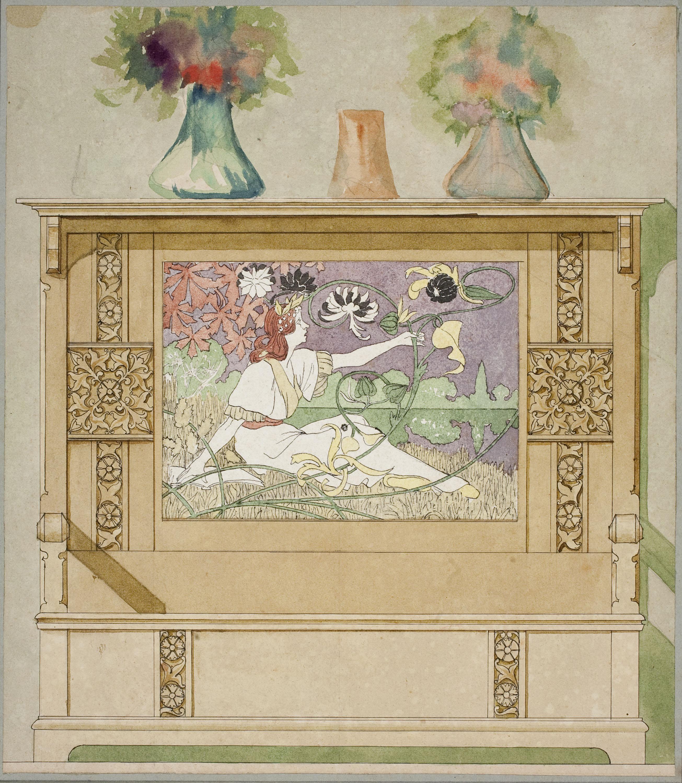 Gaspar Homar - Escó amb plafó de marqueteria - 1900