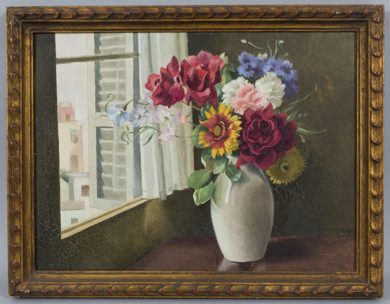 Xavier Nogués - Finestra amb flors - 1940