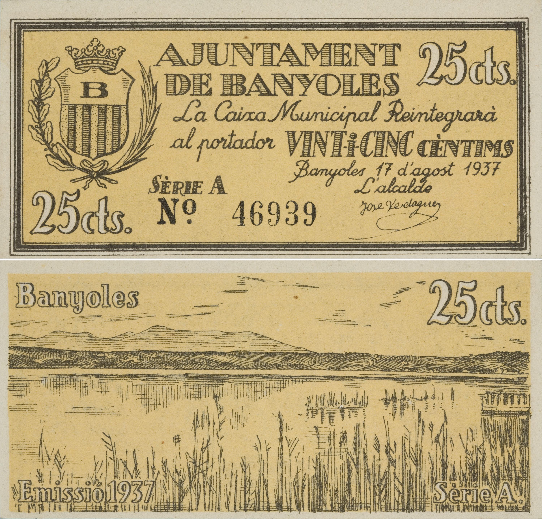 Ajuntament de Banyoles - 25 cents - 17.08.1937