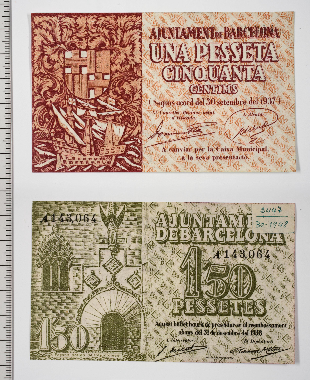 Ajuntament de Barcelona - 1,50 pessetes - 30.11.1937