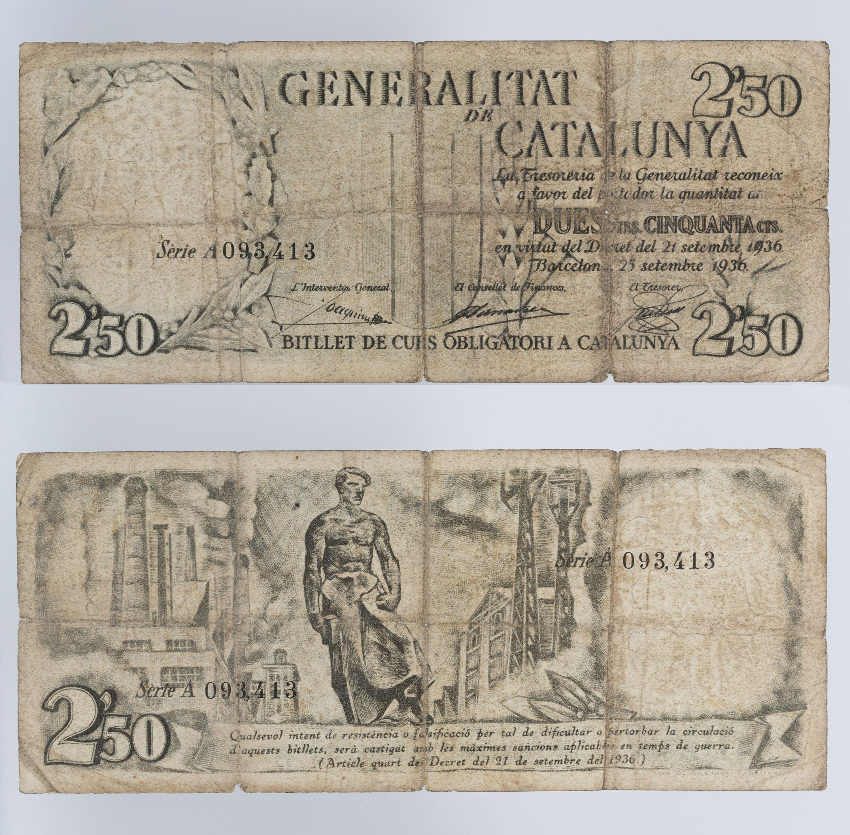 Generalitat de Catalunya - 2,50 pessetes - 25.09.1936