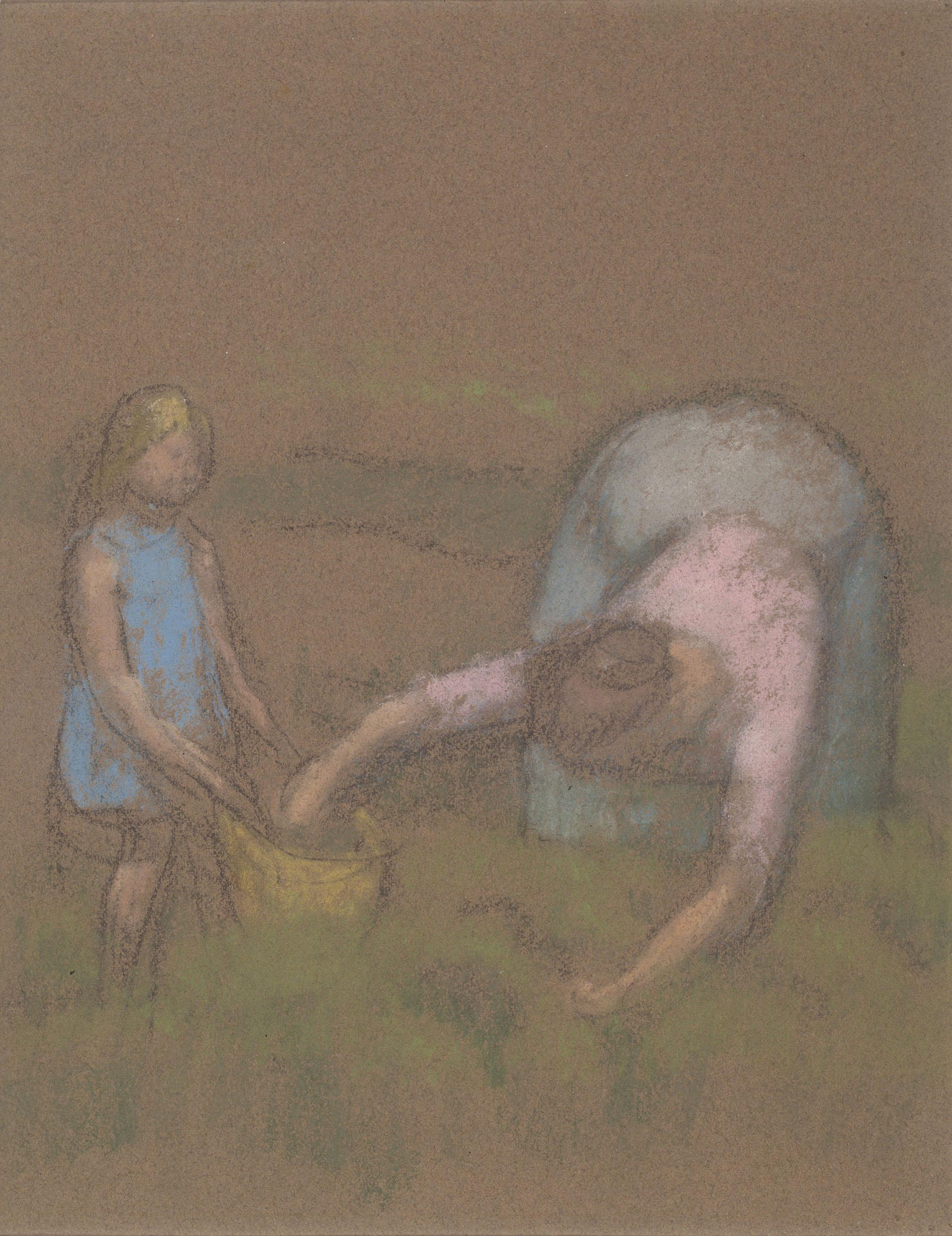 Juli González - Camperola i nena (Paysanne et fillette) (anvers) / Cap femení (revers) - Cap a 1919-1920