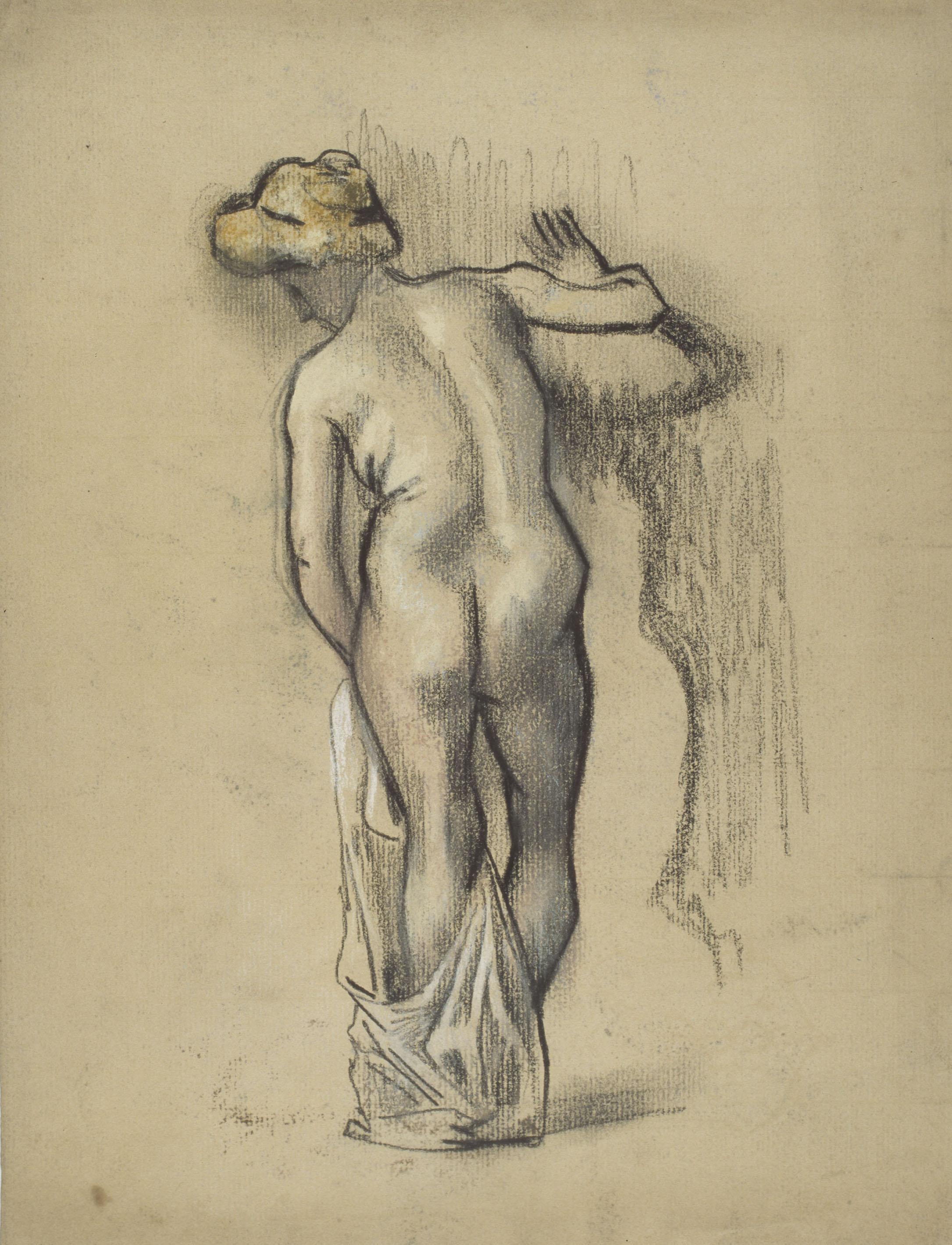 Juli González - Nu femení dret d'esquena amb vestidura (Nu debout de dos à la draperie) - Entre 1906-1910