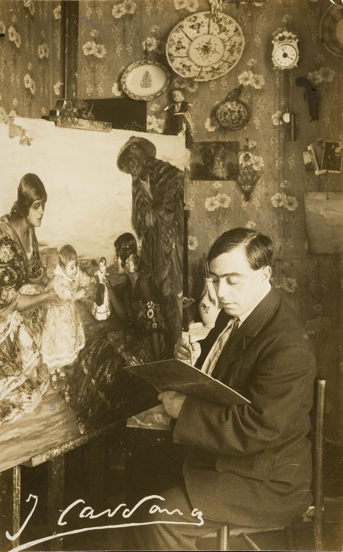Francesc Serra Dimas - Portrait of the Painter Joan Cardona Lladós in his workshop - 1904