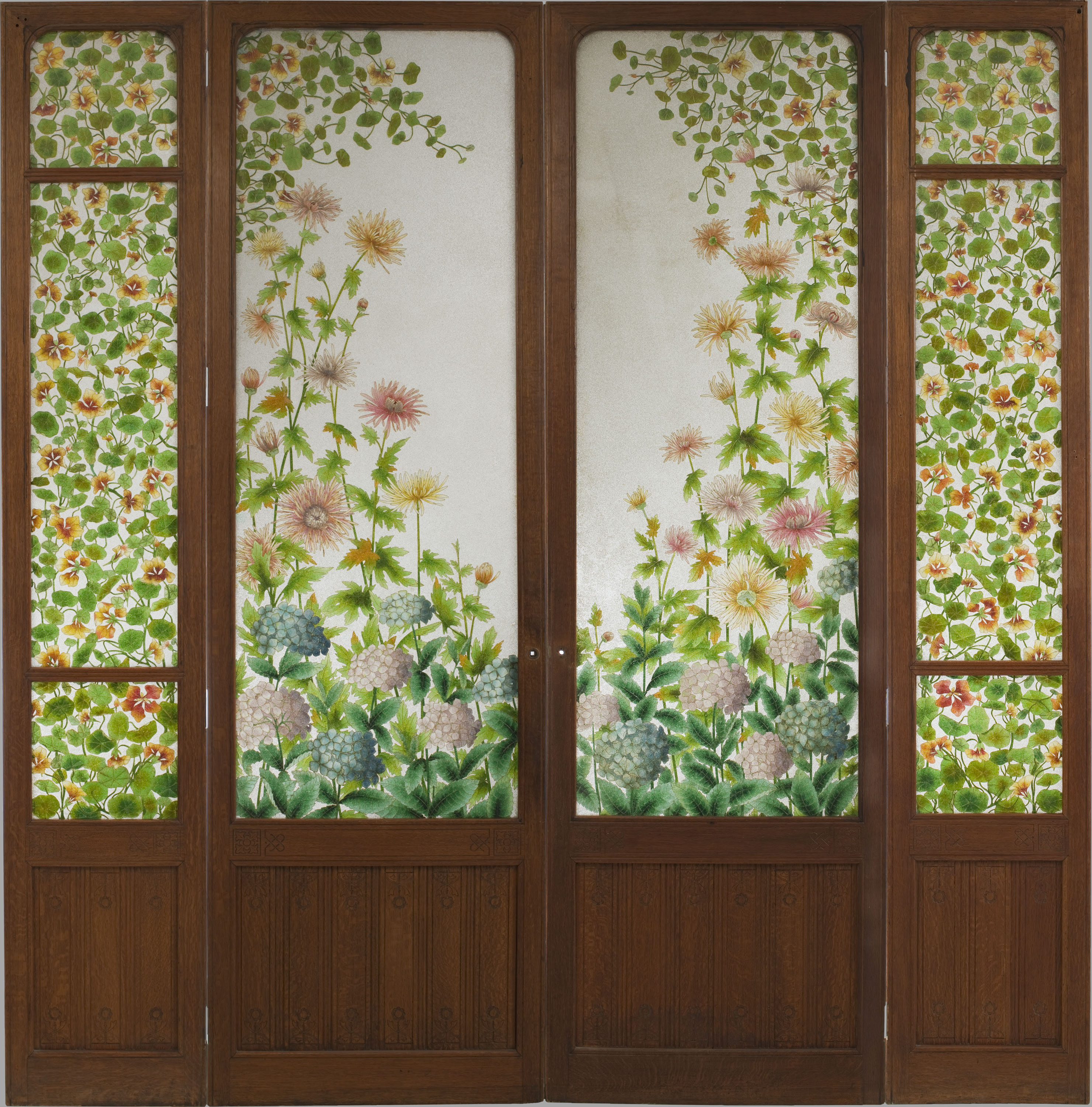 Frederic Vidal - Four-leafed glass door - Circa 1900