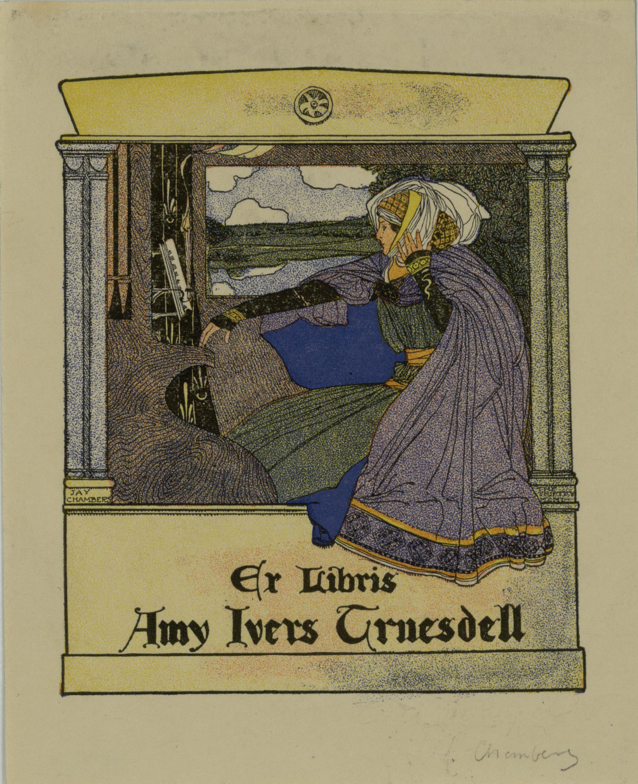Jay K. Chambers - Ex-libris Amy Ivers Truesdell - 1901
