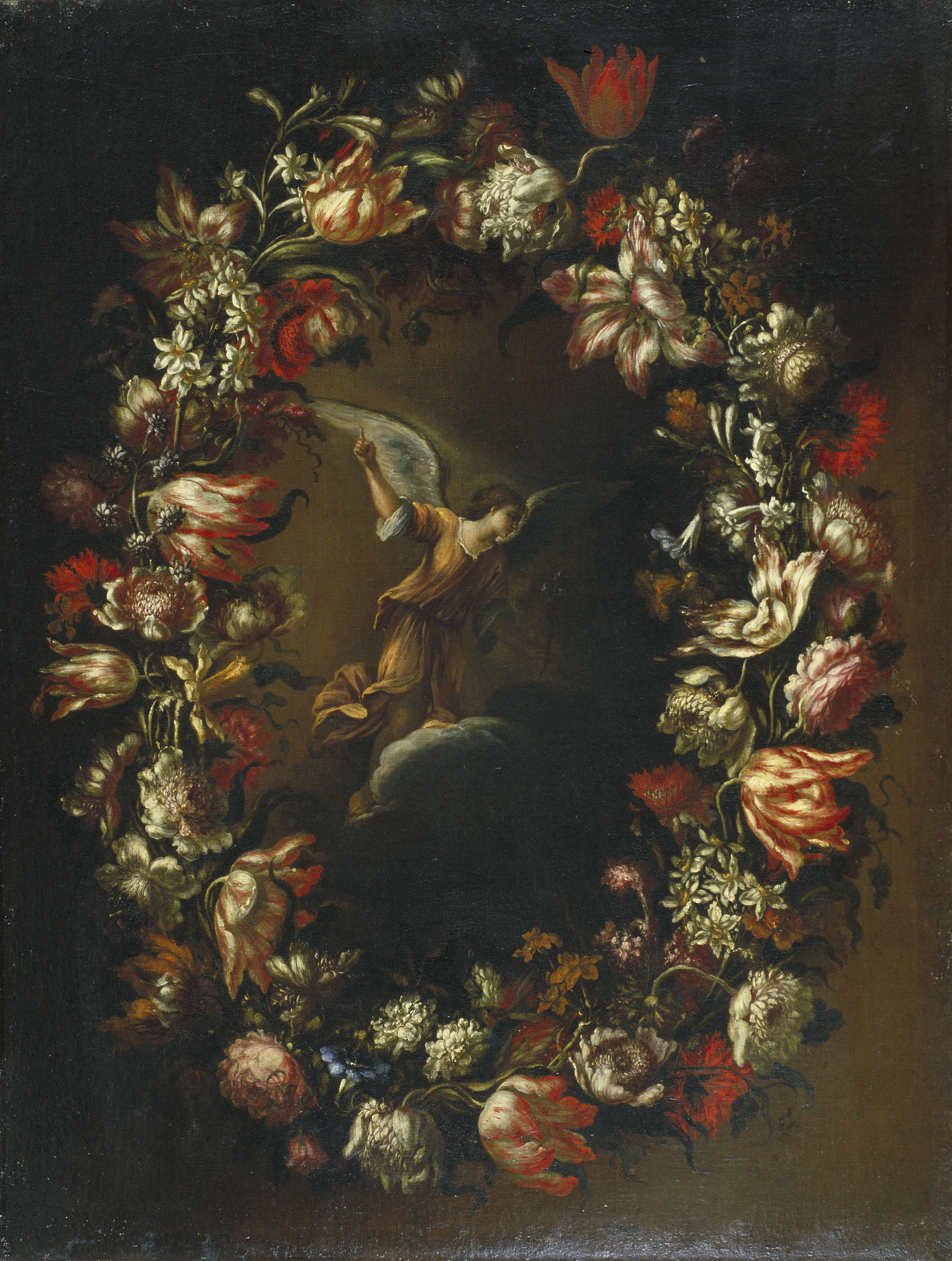 Bartolomé Pérez - Garland of Flowers with Saint Gabriel Archangel - Circa 1676