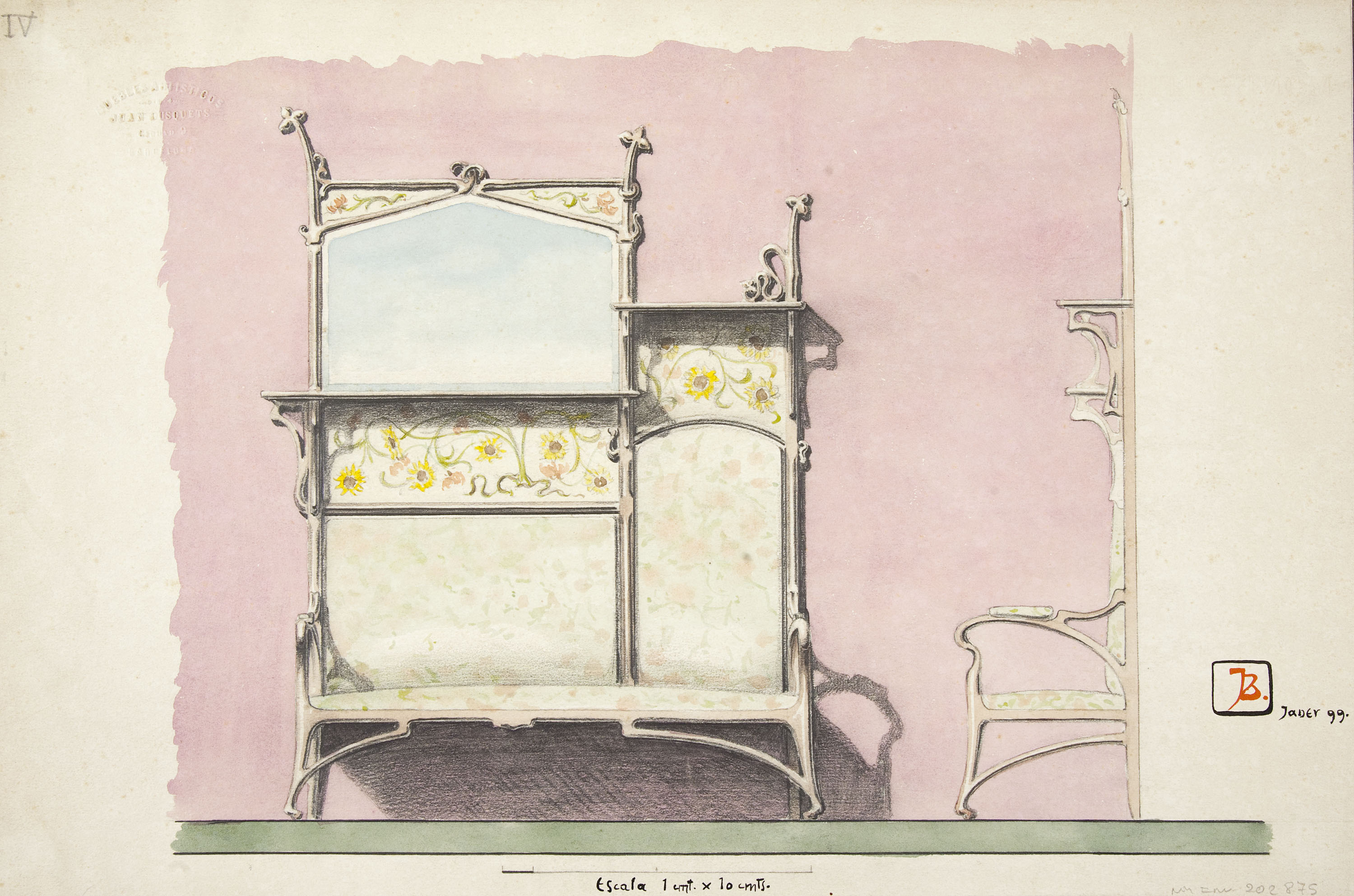Joan Busquets - Settee with shelfs and mirror - 1899