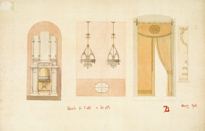 Joan Busquets - Llar de foc, llums i cortinatge - 1908