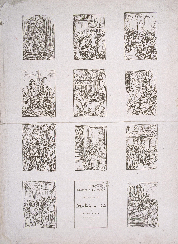 Gustavo Cochet - Proves tipogràfiques per al llibre «Onze dessins a la plume exécutés par Gustave Cochet pour Médicis souriait de Lucien Moréa aux presses du cap a Paris 1927» - Cap a 1927
