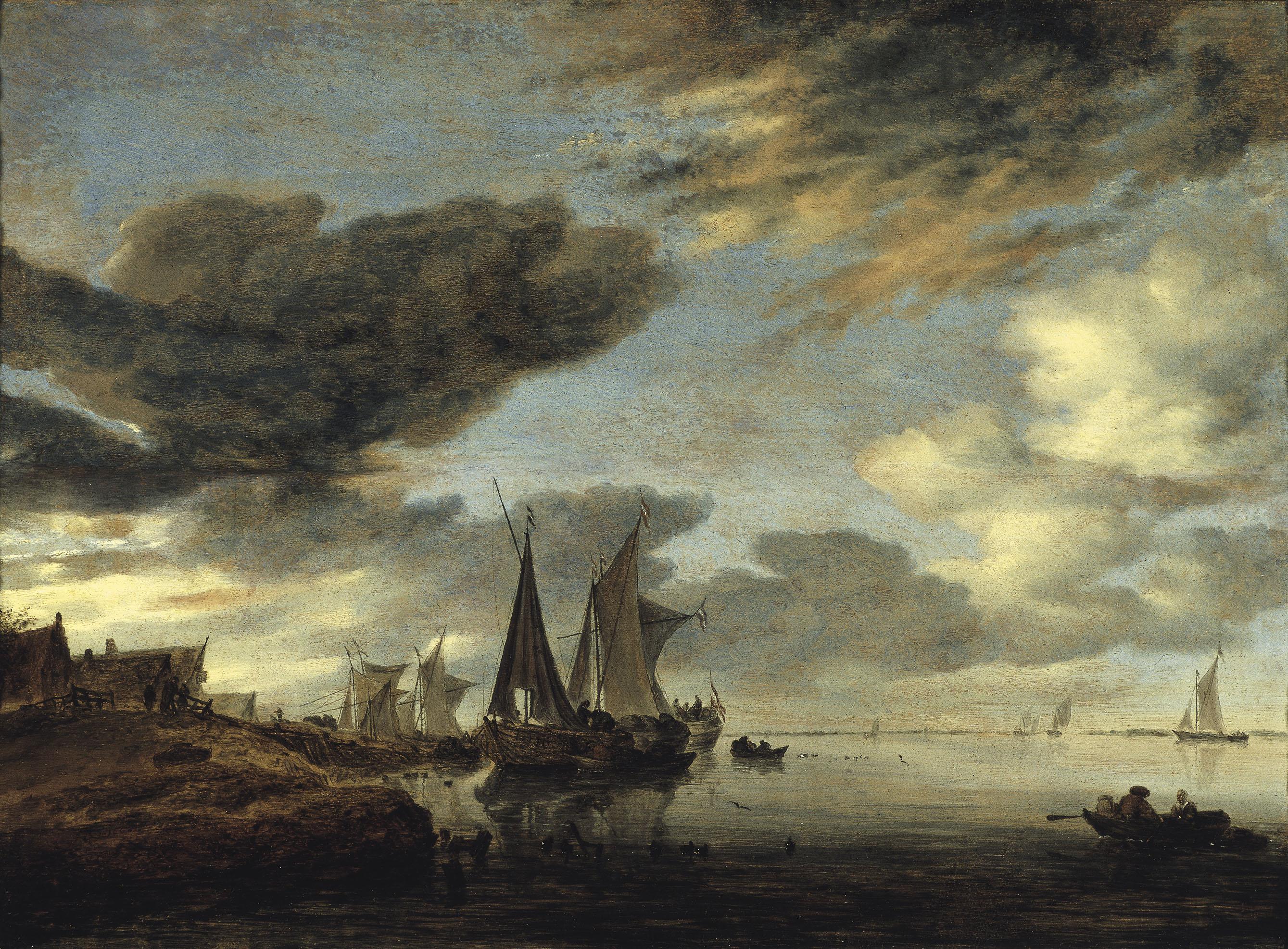 Salomon Jacobsz van Ruysdael - Velers al costat d'un poblet - 1660