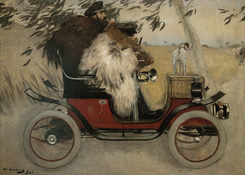 Ramon Casas - Ramon Casas i Pere Romeu en un automòbil - Barcelona, 1901