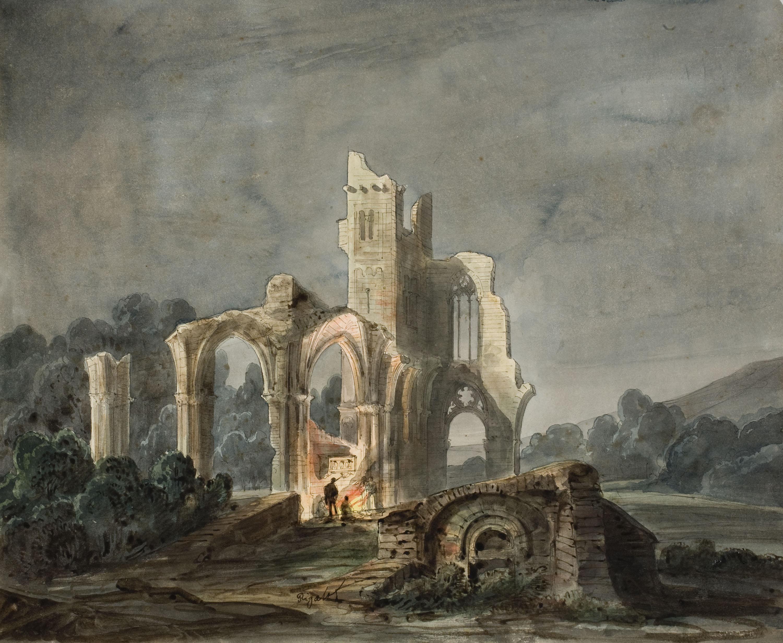 Lluís Rigalt - Paisatge nocturn amb ruïnes gòtiques - Cap a 1850