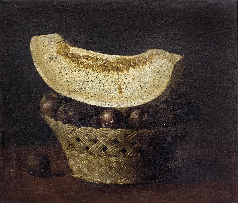 Francisco de Zurbarán - Natura morta amb cistelleta de prunes i tallada de meló - Entre 1640-1650