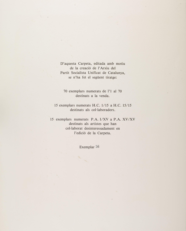 Antoni Tàpies - Manuscrit, plana amb les característiques del tiratge i set gravats editats amb motiu de la fundació de l'Arxiu del Partit Socialista Unificat de Catalunya (PSUC) - 1979 [1]