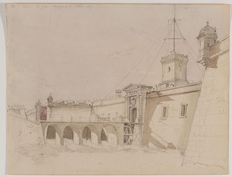 Adolphe Hedwige Alphonse Delamare - Entrada al Castell de Montjuïc - Octubre 1827